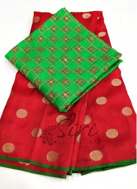 Red Jute Silk Saree in Self Polka Dots Weave