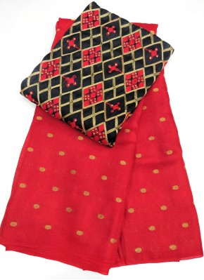 Red Jute Silk Saree in Self  Zari Polka Dots