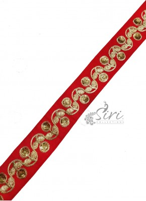 Red  Lace Trim Border in Gold Sequins Work