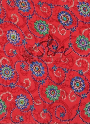Red Multi Colour Printed Rayon Fabric By Meter