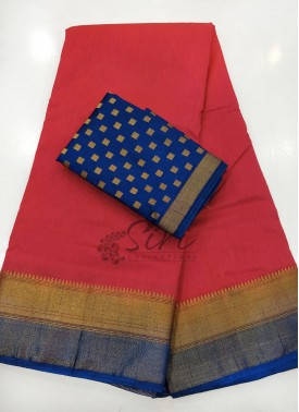Red Navy Blue Fancy Silk Saree