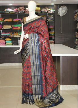 Red Navy Blue Patola Design Fancy Silk Saree