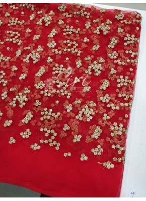 Red Net Fabric in Gold Embroidery and Sequins Work Per Meter