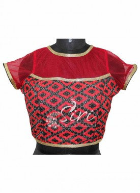 Red Netted Stitched Blouse with Allover Embroidery and Sequins Work