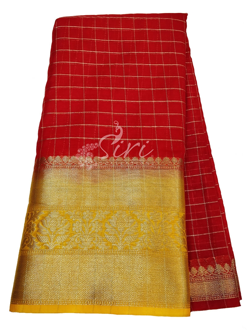 Red Organza Checks Fabric with Kanchi Border per meter