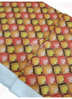 Red Peach Yellow Shades Blow Print Embroidery Work Fabric Per Meter