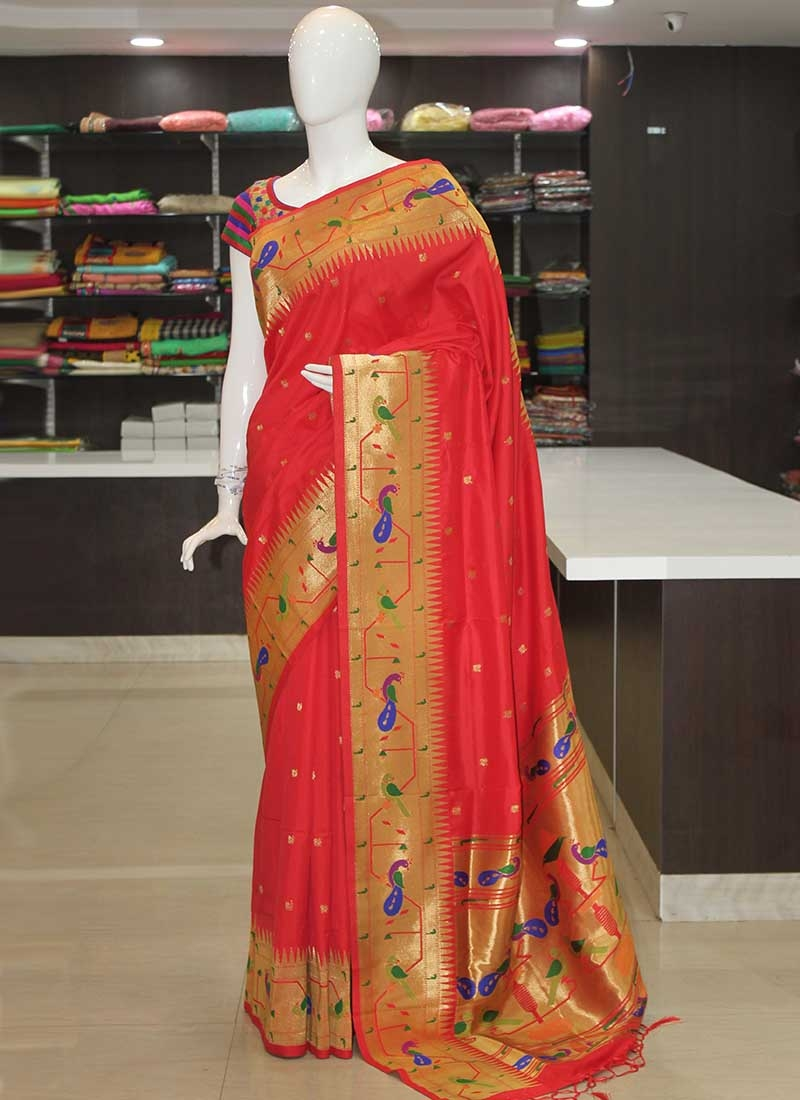 Red Peacock Design Fancy Paithani Silk Saree
