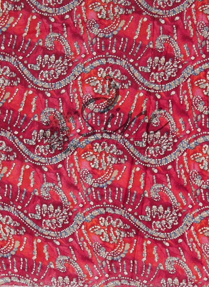 Red Pink White Printed Cotton Fabric By Meter