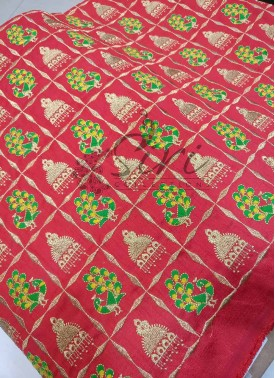 Red Raw Silk Fabric in Checks Jhumki Peacock Design Embroidery Work Per Meter