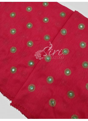 Red Raw Silk Fabric in Embroidery and Fancy Mirror Work Per Meter