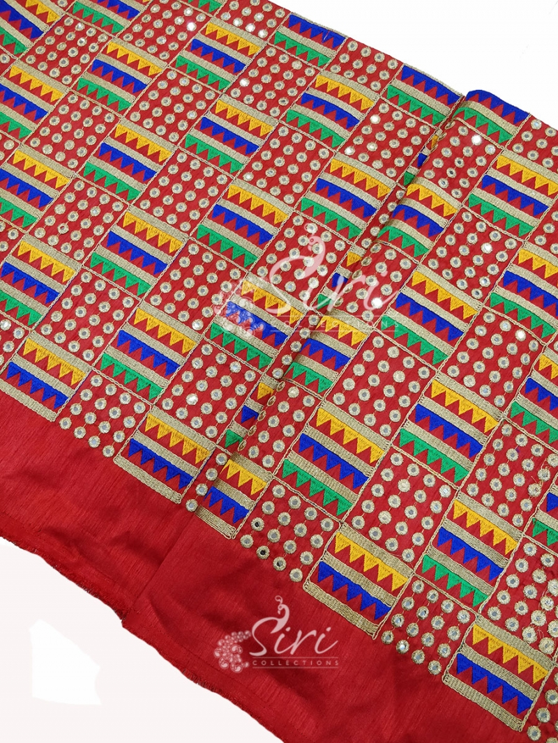 Red Raw Silk Fabric in Embroidery and Mirror Work Per Meter