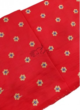 Red Raw Silk Fabric in Embroidery Work Butis Per Meter
