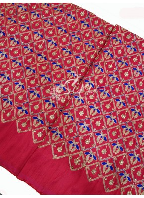 Red Raw Silk Fabric in Gold Royal Blue Embroidery and Stone Work Per Meter