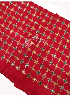 Red Raw Silk Fabric in Mirror and Embroidery Work Per Meter