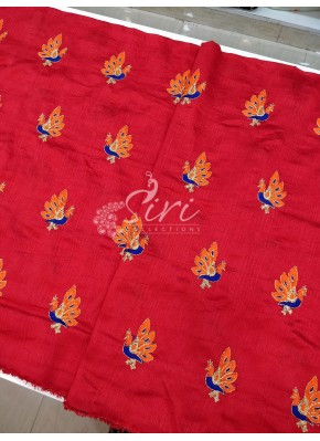 Red Raw Silk Fabric in Peacock Design Butis Embroidery Work Per Meter