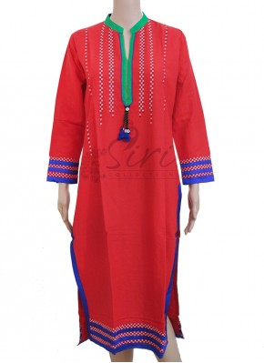 Red Rayon Cotton Kurti