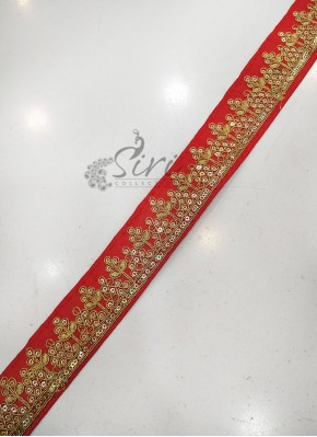 Red Saree Lace Border in Sequins and Cording Work