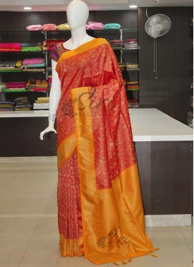 Red Yellow Fancy Brocade Banarasi Silk Saree