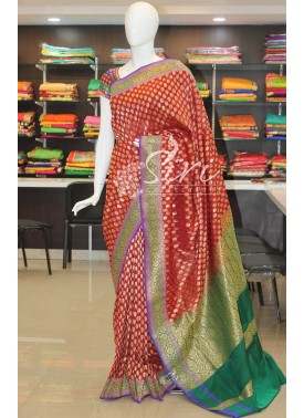 Rich Look Dark Red Banarasi Silk Saree in Contrast Pallu