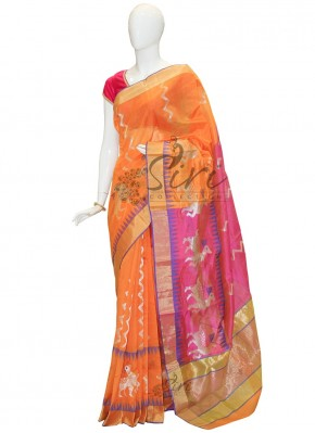 Rich Look Orange Pure Chanderi Saree with Pink Pallu