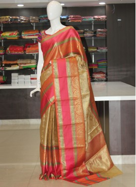 Rich Orange Pink Gold Beautiful Saree Allover Design