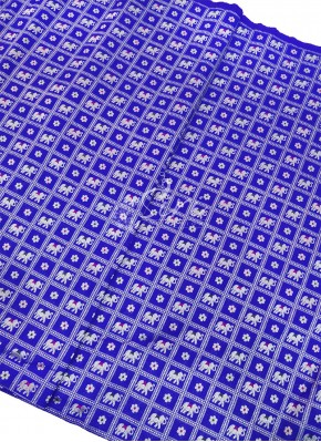 Rich Royal Blue Banarasi Silk Fabric in Silver Zari Per Meter