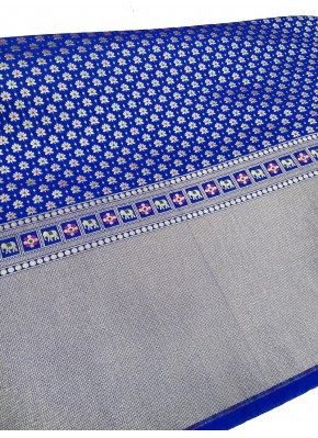 Royal Blue Banarasi Silk Fabric in one side Border Design Per Meter