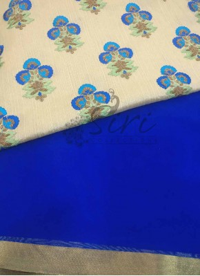 Royal Blue Georgette Saree with designer blouse fabric