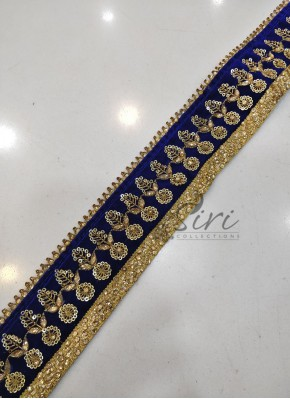 Royal Blue Gold Velvet Border Lace in Stone Work and Sequins Work
