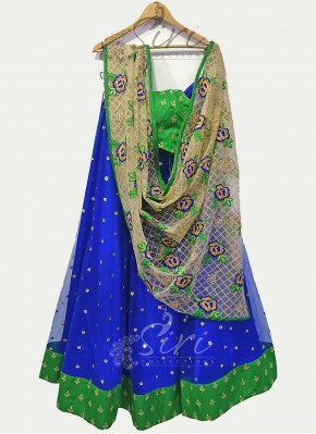 Royal Blue Green Designer Charming Lehenga Set