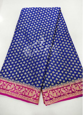Royal Blue Magenta Pure Banarasi Georgette Saree