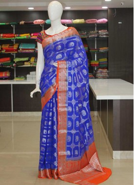 Royal Blue Orange Fancy Banarasi Georgette Saree in Silver Zari