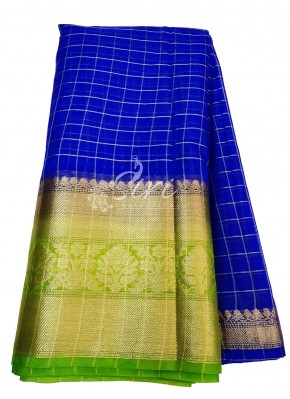 Royal Blue Organza Checks Fabric with Kanchi Border per meter