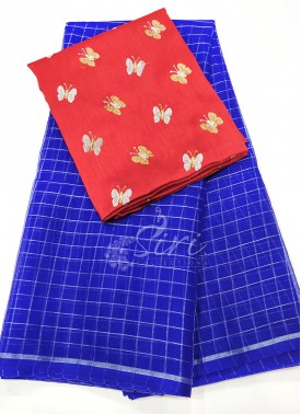 Royal Blue Organza Saree in Silver Checks with Designer Blouse Fabric