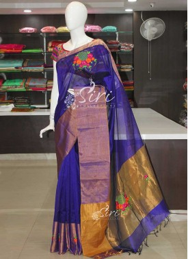Designer Handloom saree with Beautiful intricate Hand Embroidery Work.