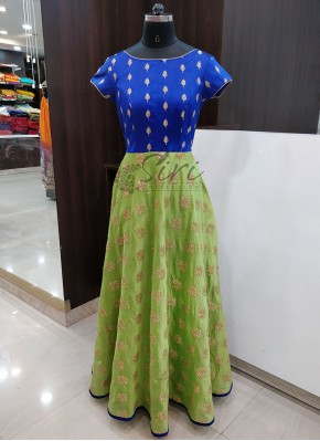 Royal Blue Raw Silk and Green Chanderi Beautiful Long Frock