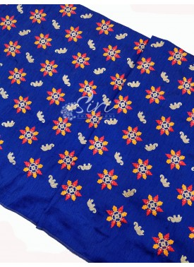 Royal Blue Raw Silk Fabric in Embroidery Work Per Meter