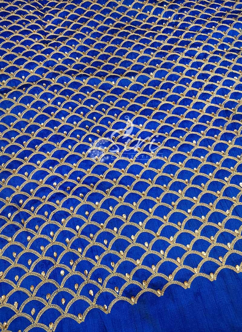 Royal Blue Raw Silk Fabric in Gold Embroidery and Stone Work Per Meter