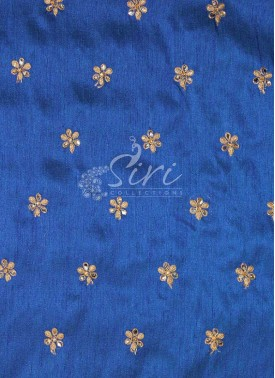 Royal Blue Raw Silk Fabric in Mirror And Gold Embroidery Work by Meter