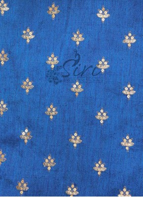 Royal Blue Raw Silk Fabric in Sequins Embroidery Work by Meter