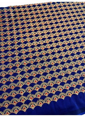 Royal Blue Raw Silk Fabric in Stone and Embroidery
