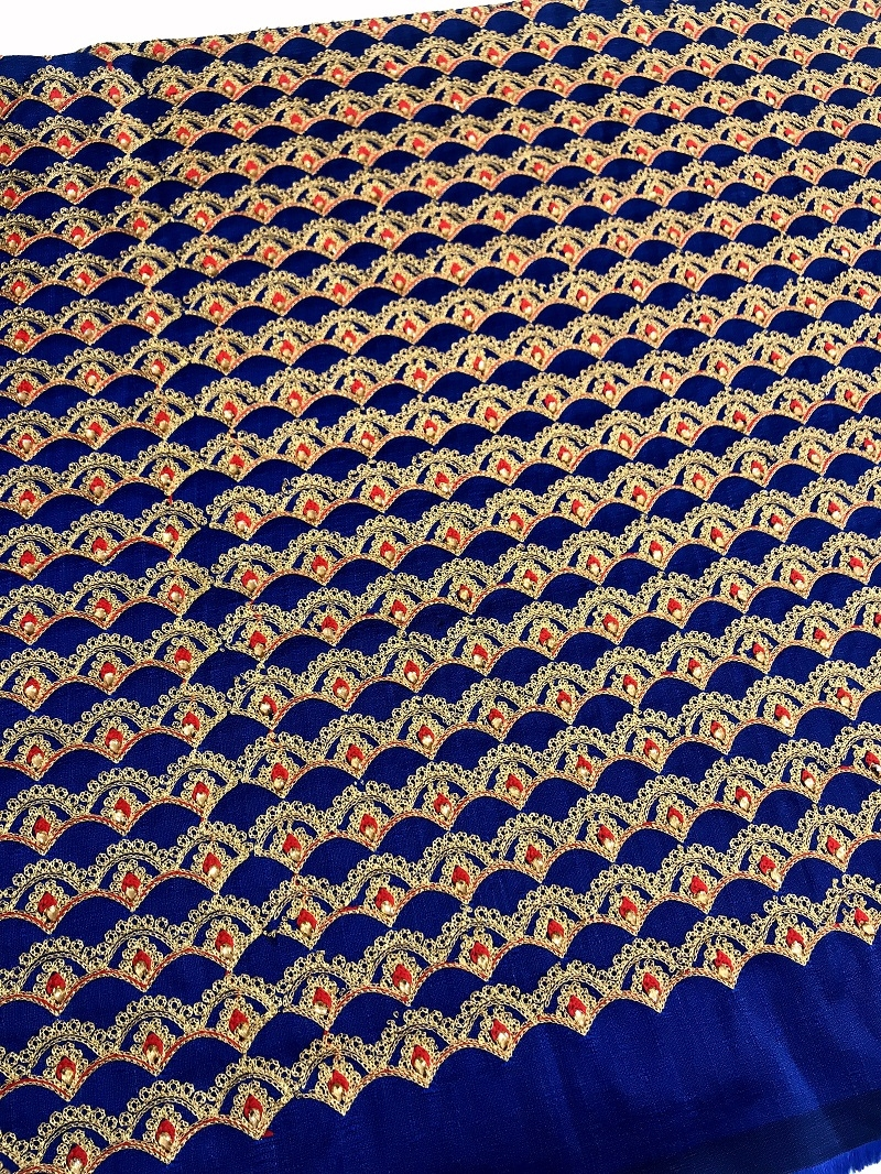 Royal Blue Raw Silk Fabric in Stone and Embroidery Work with red Buti