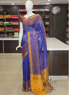 Royal Blue Yellow Mangalagiri Pattu Saree