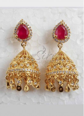Ruby AD Stones Jhumkis