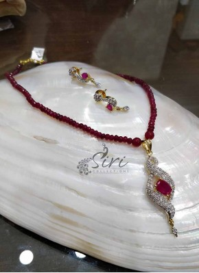 Ruby Chain with CZ Pendant Set