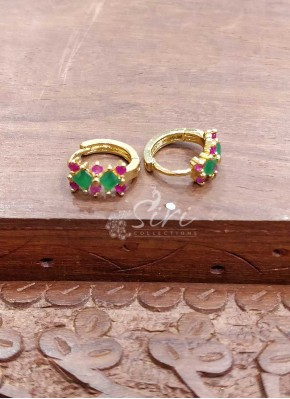 Ruby Emerald Alike Stone Earrings Baalis