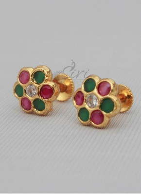 Ruby emerald CZ seven stone earrings