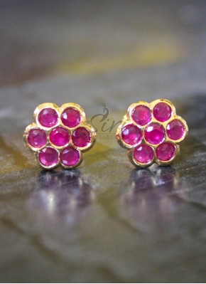 Ruby seven stone earrings