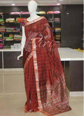 Rustic Brown Maroon Mangalagiri Pattu Saree in Silver Zari