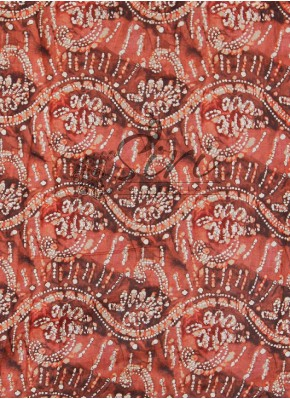 Rustic Brown White Printed Cotton Fabric By Meter